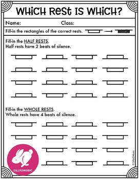 Half & Whole Rest Worksheets