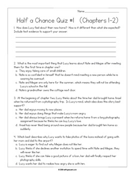 Half a Chance by Cynthia Lord: 12 Writing Prompts and 12 Quizzes