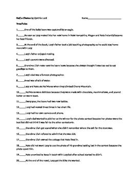 Half a Chance by Cynthia Lord 40 Question Test