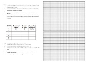Half-life Penny Lab Interactive Notebook Lab Sheet