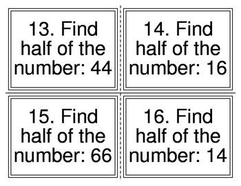 Half of Number Task Cards