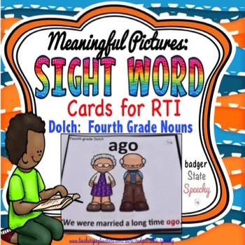 Dolch Sight Word Cards with Pictures Fourth Grade Nouns
