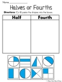 Half Of or Fourth Of Worksheets (Fun Fractions Cut and Paste Sorts)