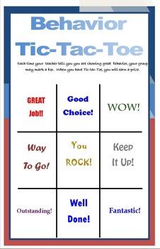 Half-page Behavior Tic-Tac-Toe PBIS Behavior SIT General E