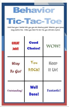 Half-page Behavior Tic-Tac-Toe PDF PBIS SIT General Educat