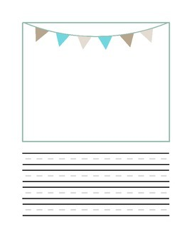 Half page writing and drawing with bunting frame