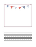 Half page writing and drawing with red and blue bunting frame