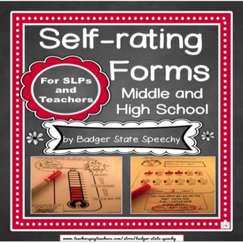 Self Assessment Forms Middle and High School:  Editable