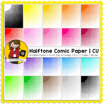 Halftone Comic Pop Art Digital Paper  {Paper Overlays for CU}