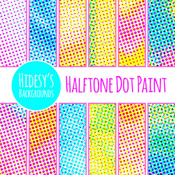Halftone Dot Painting Backgrounds / Digital Papers Clip Art Set Commercial Use
