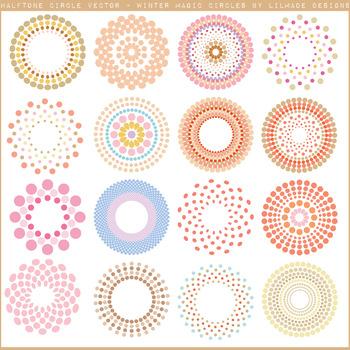Halftone circles clipart