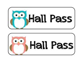 Hall Pass - Owl Theme!