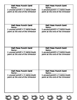 Hall Pass Punch Card