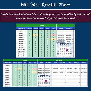 Hall Pass Records Sheet Editable With Color Coding Google Sheets