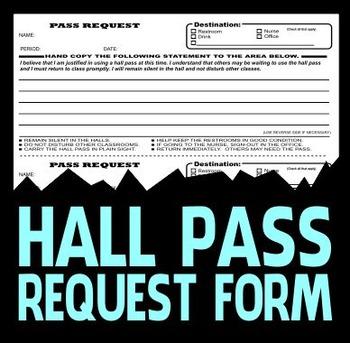Hall Pass Request Form - Classroom Management