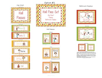 Hall Pass Set - Clip Chart, Passes and Bathroom Display - Apple Theme