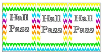 Hall Pass Set! Cutomize and slip into name badge pockets with clips!