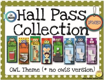 Hall Pass Set - Owl Theme (Includes versions without owls)- Polka Dot
