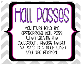 Hall Pass Sign