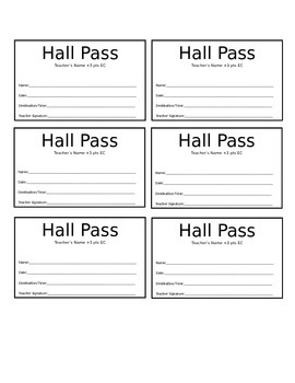 Zany image pertaining to hall pass printable