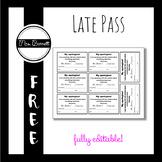 Hall Pass Template (Editable!)