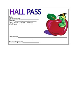Hall Pass Template And Note To Teacher By Ms G S Crafty Corner Tpt