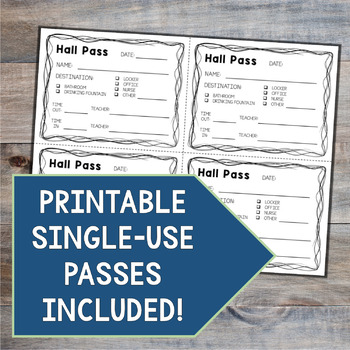 Hall Pass Template for Middle School Students