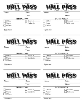 Hall Pass Template By Earth Life Source Teachers Pay Teachers