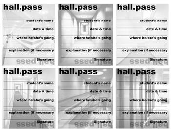 Hall Pass (6 Versions) - Hall, Counselor, Nurse