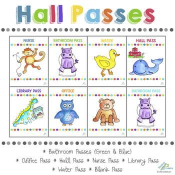 Classroom Passes (Bathroom, Hall, Office, Nurse, Blank, Water, Library)