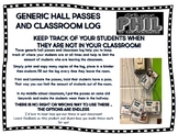 Hall Passes - Bathroom, Office, Nurse, Water and More including a Classroom Log