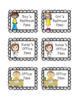 Hall Passes: Bathroom Passes, Nurse's Office, Office FREEBIE