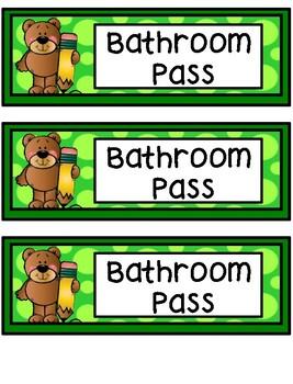 Hall Passes - Bear Theme - Bear Hall Passes