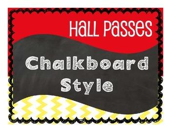 Hall Passes Chalkboard Style