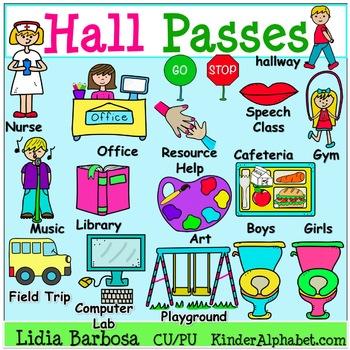 Hall Passes {Clip Art for Teachers}
