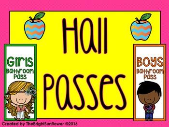 Hall Passes (Colorful Theme)
