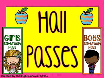 Hall Passes (Colorful Theme)