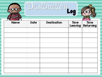 Hall Passes & Destination Log: Sunny Days Classroom Decor