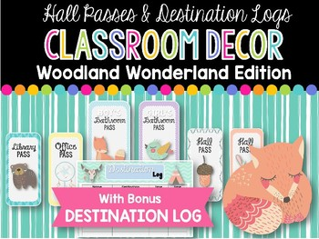 Hall Passes & Destination Log: Woodland Wonderland Classroom Decor
