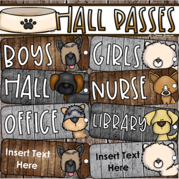 Hall Passes Dog Theme Editable (Boys, Girls, Office, Library, Nurse)