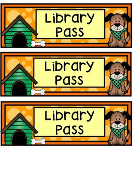 Hall Passes - Dog Theme - Dog Hall Passes
