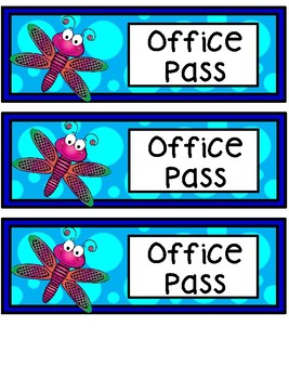 Hall Passes - Dragonfly Theme - Dragonfly Hall Passes