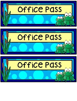 Hall Passes - Frog Theme - Frog Hall Passes