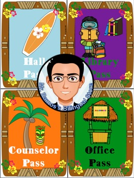 Hall Passes -Hawaiian Theme