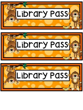 Hall Passes - Monkey Theme - Monkey Hall Passes