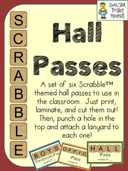 Hall Passes ~ Scrabble (Letter Tile) Theme ~ Set of Six!