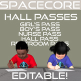 Space Themed Hall Passes Editable