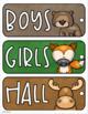Hall Passes Woodland Animals Forest Theme Editable (Boys, Girls, Office, Nurse)