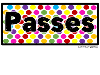 Hall Passes for grades K-5