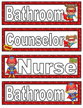 Super Hero Themed Hall Passes